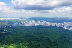 Plane view from the window. View from a plane window on suburb of the city of Moscow royalty free stock photography