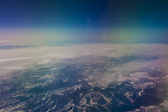 Plane view from the window. The view from the window of the plane isn`t similar to views from other windows stock image