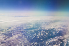 Plane view from the window. The view from the window of the plane isn`t similar to views from other windows stock images