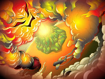 Plane and volcano illustration Royalty Free Stock Images