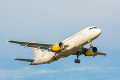 Plane from Vueling Airlines Clickair Airbus A320 EC-KDT is landing Stock Photos