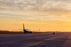 Plane waiting to take off Royalty Free Stock Photography