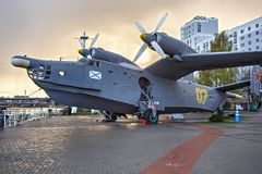 KALININGRAD, RUSSIA - APRIL 25, 2016: Anti-submarine seaplane Be-12 on the background of a sunset. royalty free stock photo