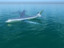 Plane In Water. Image inspired by the Hudson River plane crash Royalty Free Stock Photography