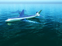 Plane In Water. Image inspired by the Hudson River plane crash Stock Photography