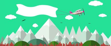 Plane with white banner flying above the nature landscape. Background for your text Stock Images