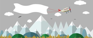 Plane with white banner flying above the nature landscape. Background for your text Royalty Free Stock Photo