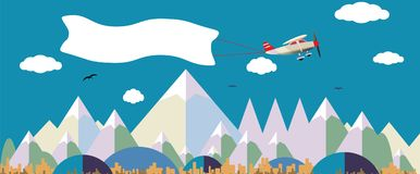 Plane with white banner flying above the nature landscape. Background for your text Stock Photos