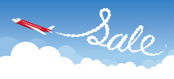 Plane with White Trail Smoke, Sale Text. Airline Airway Travel Event Promotion Stock Image