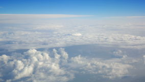 Plane window fly clouds stock video footage