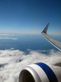 Plane Wing. View from the plane. The wing and jet engine are visible Stock Image