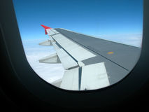 Plane Wing. Looking out a planes window in flight royalty free stock image