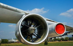 Plane wing. The wing of a turboreactive plane stationed on an aerodrome Royalty Free Stock Image