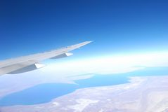 Plane wing Royalty Free Stock Photo
