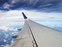 Plane Wing and Blue Sky Royalty Free Stock Image