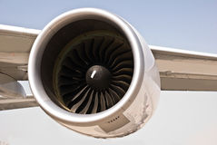Plane wing with engine. Plane wing photo with engine Royalty Free Stock Photography