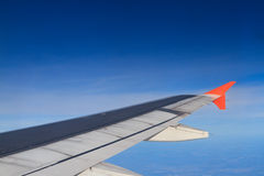 Plane wing in flight Royalty Free Stock Photos