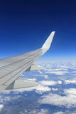 Plane wing in flight Stock Image