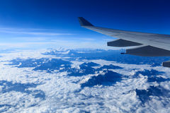 Plane wing and the himalayas Royalty Free Stock Images