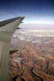 Plane wing and landscape Stock Photo