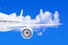 Plane wing on sky background Royalty Free Stock Images