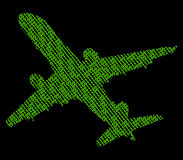 Plane With Binary Code Royalty Free Stock Photos