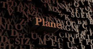 Plane - Wooden 3D rendered letters/message. Can be used for an online banner ad or a print postcard Royalty Free Stock Photography