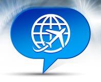 Plane world icon blue bubble background royalty free illustration