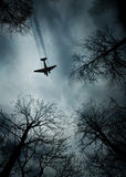 Plane World War II era in flight Royalty Free Stock Photography