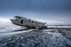 Plane wreck on the black beach in  Iceland Stock Image