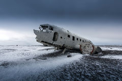 Plane wreck on the black beach in  Iceland Royalty Free Stock Photos