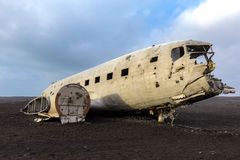 Plane Wreck Iceland. The abandoned wreck of a US military plane on Solheimasandur beach near Vik, Southern Iceland Royalty Free Stock Photo