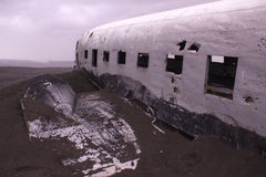 Plane wreck, Iceland stock images