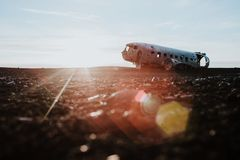 Plane wreck in Iceland Stock Photo