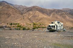 Plane wreck. Lying on the barren land in Afghanistan Stock Photography