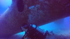 Plane wreck scuba diving philippines stock footage