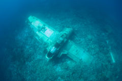 Plane Wreckage Underwater Stock Photo