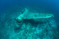 Plane Wreckage From WWII Underwater Stock Photo