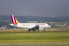 Plane. ZURICH, SWITZERLAND, CIRCA JULY 2015 : Passenger airplane of the German company Germanwings, ready for takeoff Royalty Free Stock Photo