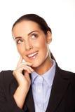 Planeamento atrativo da mulher de negócios sua estratégia Imagens de Stock Royalty Free
