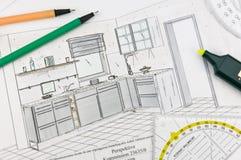 Planeamento da cozinha Imagem de Stock Royalty Free