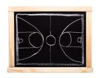 Planeamento da estratégia do basquetebol no quadro-negro imagens de stock