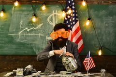 Planeamento da renda da política do aumento de orçamento Dia da Independência de EUA Conceito das férias do curso escola o 4 de j Imagem de Stock