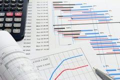 Planeamento de projeto e fluxo de caixa Fotografia de Stock Royalty Free
