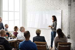 Planeamento de treinamento da conferência que aprende o conceito de treinamento do negócio Imagens de Stock
