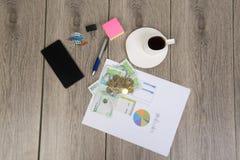 Planeamento do negócio e do orçamento com dinheiro colombiano Imagens de Stock