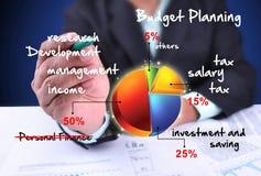 Planeamento do orçamento do desenho do homem de negócios Imagem de Stock Royalty Free