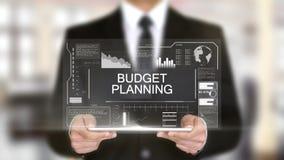 Planeamento do orçamento, relação futurista do holograma, realidade virtual aumentada ilustração stock