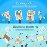 Planeamento empresarial que procura Job Web Banner Flat Imagens de Stock
