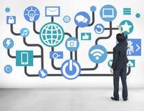 Planeamento empresarial social dos trabalhos em rede das comunicações globais em linha imagem de stock